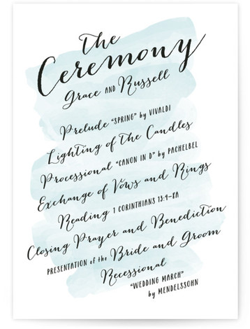 This is a portrait bold typographic, watercolor, whimsical, blue Wedding Programs by Hooray Creative called Pastel Watercolor Wash with Standard printing on Signature in Classic Flat Card format. Share the details of your wedding ceremony with a beautiful wedding program ...