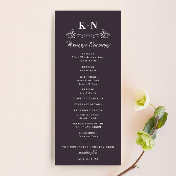 """""""Promise"""" - Elegant, Formal Unique Wedding Programs in Midnight by Susan Brown."""