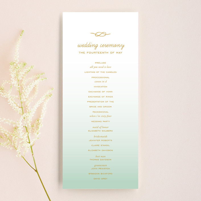 """""""Simple Knot"""" - Simple, Beach Unique Wedding Programs in Mint by SimpleTe Design."""