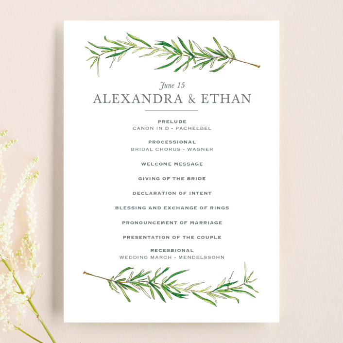 """""""Simple Sprigs"""" - Unique Wedding Programs in Fern by Erin Deegan."""