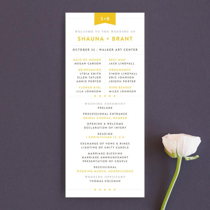 """Sunshine Day"" - Destination, Modern Unique Wedding Programs in Mustard by Michelle Taylor."