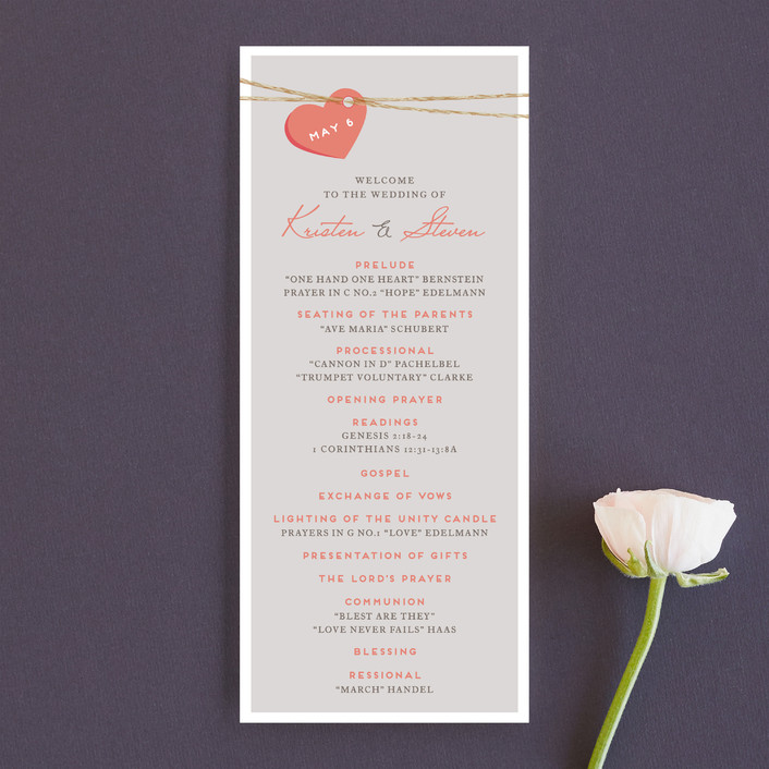 """Tangled Love"" - Whimsical & Funny Unique Wedding Programs in Petal by Jennifer Postorino."