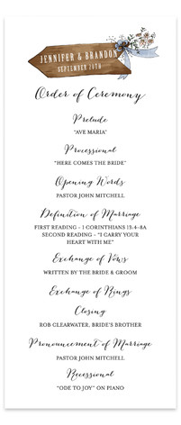 The Wedding Sign Says Wedding Programs