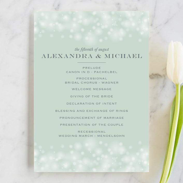 """Twinkling Lights"" - Elegant, Classical Unique Wedding Programs in Seagreen by Erin Deegan."