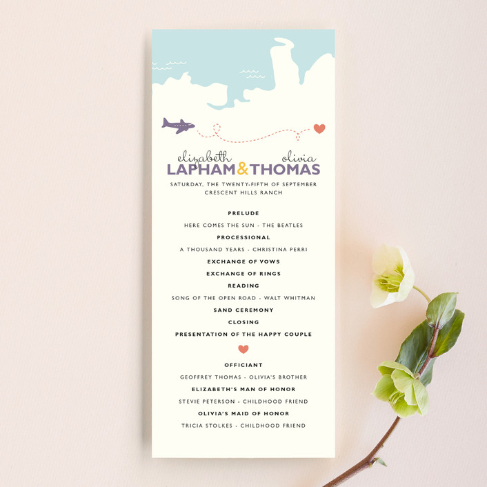 """Two Brides Destination"" - Destination, Whimsical & Funny Wedding Programs in Sky by leslie hamer."