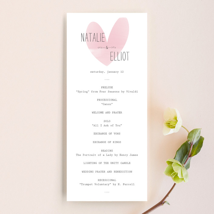 """Typewritten Heart"" - Simple, Modern Unique Wedding Programs in Blush by Robin Ott."