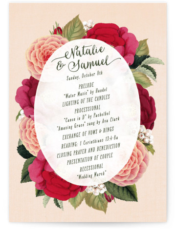 This is a portrait floral, vintage, pink Wedding Programs by Hooray Creative called Vintage Botanicals with Standard printing on Signature in Classic Flat Card format. Share the details of your wedding ceremony with a beautiful wedding program printed on luxe ...