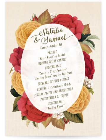 This is a portrait floral, vintage, yellow, red Wedding Programs by Hooray Creative called Vintage Botanicals with Standard printing on Signature in Classic Flat Card format. Share the details of your wedding ceremony with a beautiful wedding program printed on ...