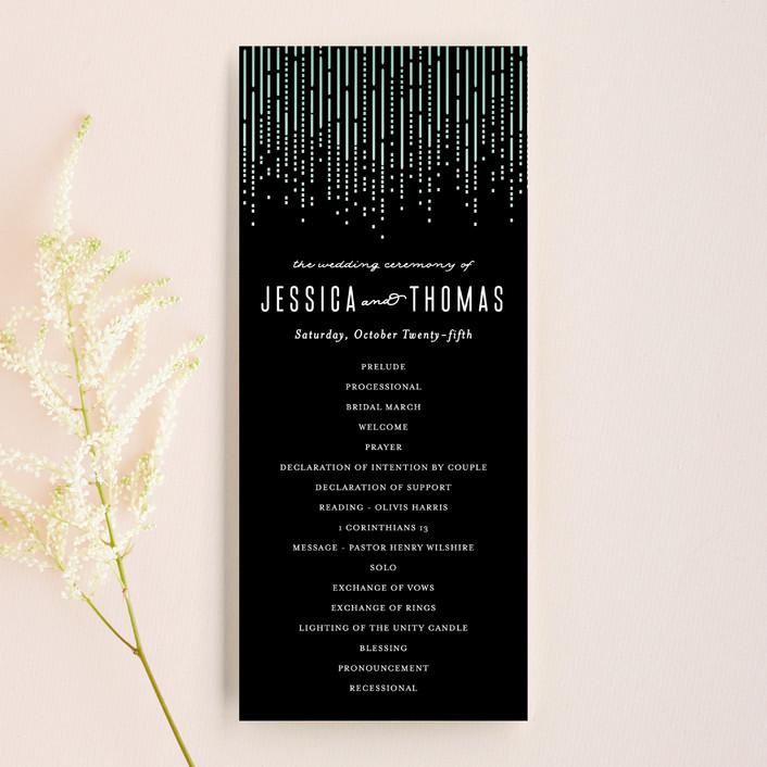 """Crystal Curtain"" - Elegant, Classical Unique Wedding Programs in Noir by Rebecca Bowen."