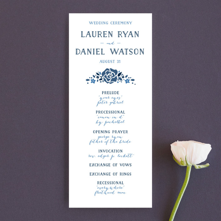 """Heirloom Frame"" - Monogrammed, Floral & Botanical Unique Wedding Programs in Denim by Ariel Rutland."
