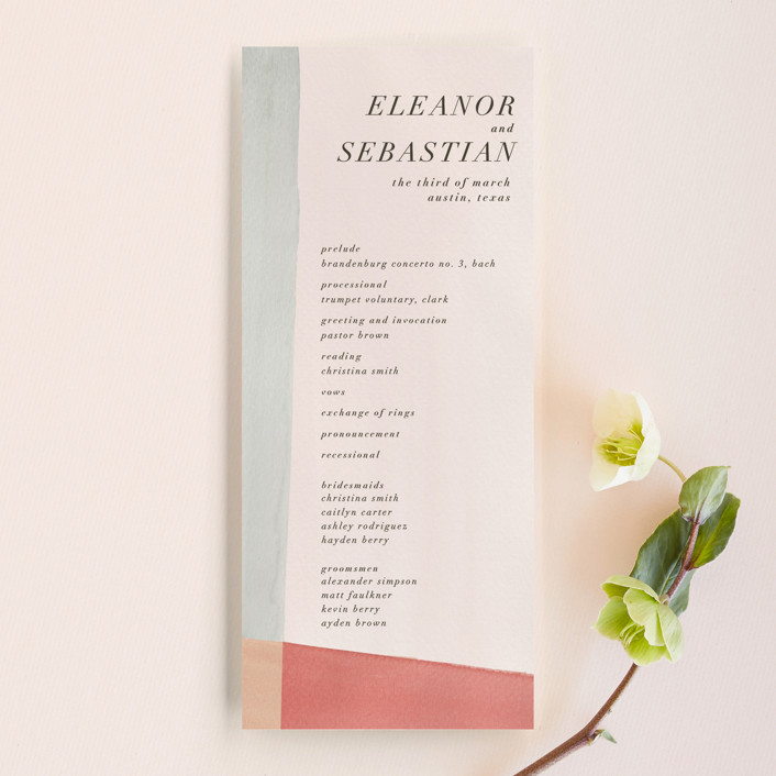 """Eleanor"" - Unique Wedding Programs in Rose by Creative Parasol."