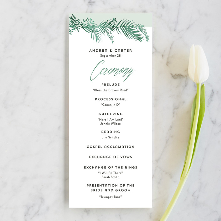 """Destination"" - Unique Wedding Programs in Palm by Pink House Press."