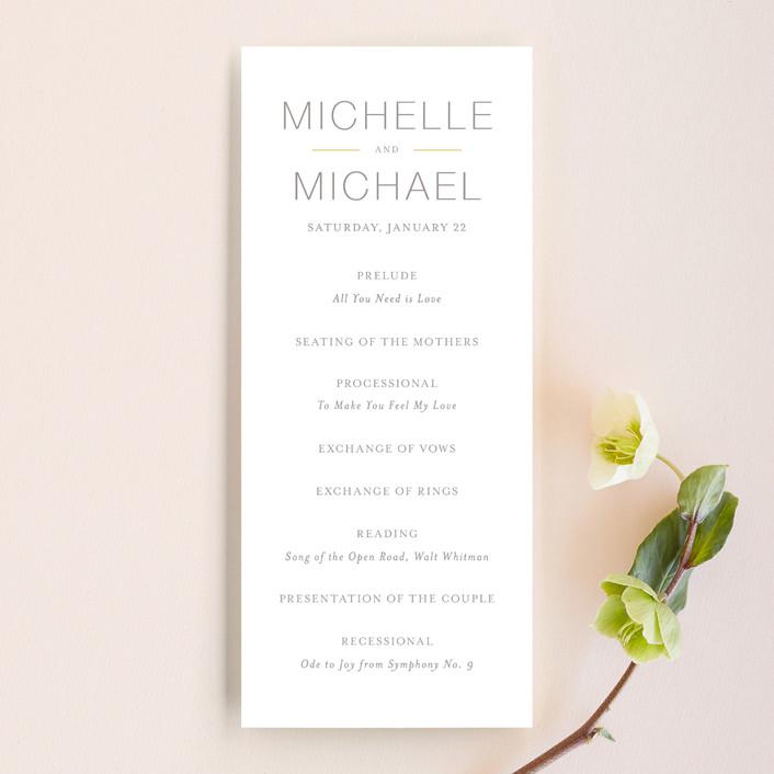 """Baseline"" - Simple, Modern Unique Wedding Programs in Silver by Design Lotus."