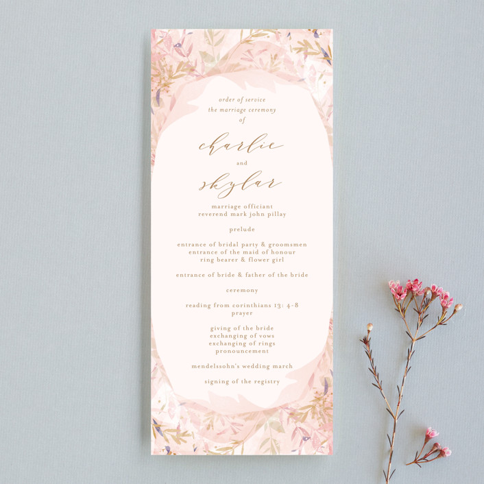 """Fantasy Floral Bride"" - Wedding Programs in Blush by Phrosne Ras."