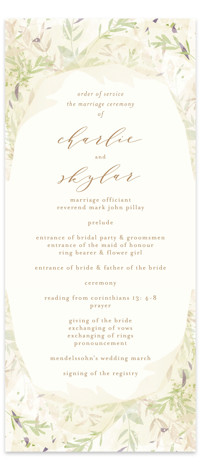 This is a brown, green Wedding Programs by Phrosne Ras called Fantasy Floral Bride with Standard printing on Signature in Classic Flat Card format. Share the details of your wedding ceremony with a beautiful wedding program printed on luxe paper. ...