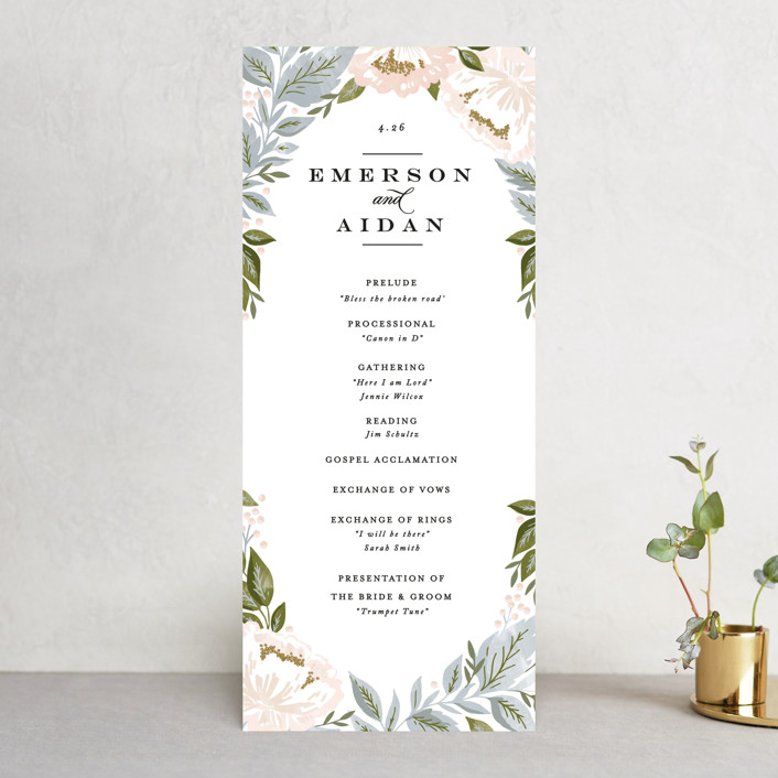 """Peony Floral Frame"" - Wedding Programs in Cornflower by Alethea and Ruth."