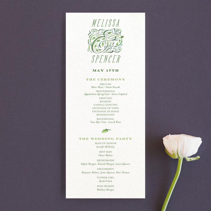 """Growing Ampersand"" - Unique Wedding Programs in Ivory by Laura Bolter Design."