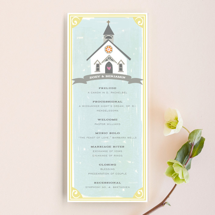 """Going to the Chapel"" - Bold typographic, Whimsical & Funny Unique Wedding Programs in Spring by Griffinbell Paper Co.."