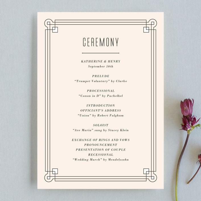 """Handsome Border"" - Modern Unique Wedding Programs in Blush by Hooray Creative."