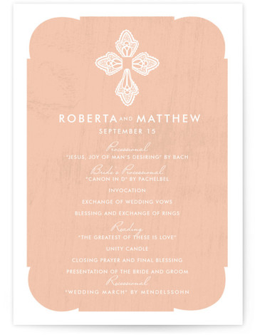 This is a portrait ethnic/cultural, watercolor, pink Wedding Programs by Yolanda Mariak Chendak called Blessed Lace with Standard printing on Signature in Classic Flat Card format. This invitation focuses on the religious sacrament of marriage but doesn't sacrifice on modern ...