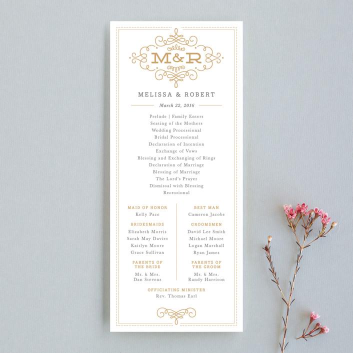 """Ornate Monogram"" - Monogrammed, Formal Wedding Programs in Faux Gold by Kristen Smith."