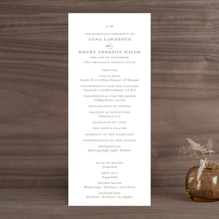 """""""Field"""" - Simple, Elegant Wedding Programs in Ash by Toast & Laurel."""