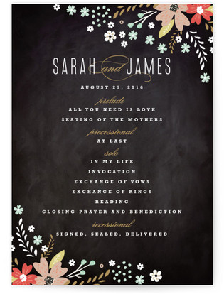 Floral Chalkboard Wedding Programs