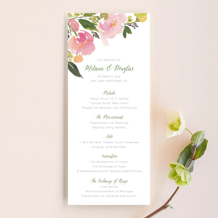 """""""Watercolor Floral"""" - Floral & Botanical Wedding Programs in Olive by Yao Cheng Design."""