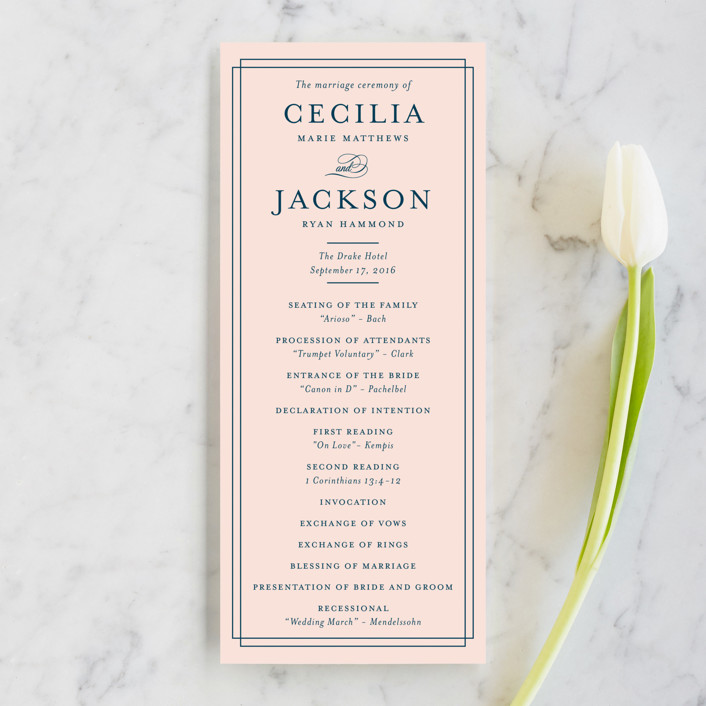 """Chic Gala"" - Classical Wedding Programs in Cotton Candy by Kimberly FitzSimons."