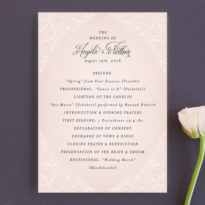 """Elegant Lace"" - Elegant Unique Wedding Programs in Blush by Hooray Creative."