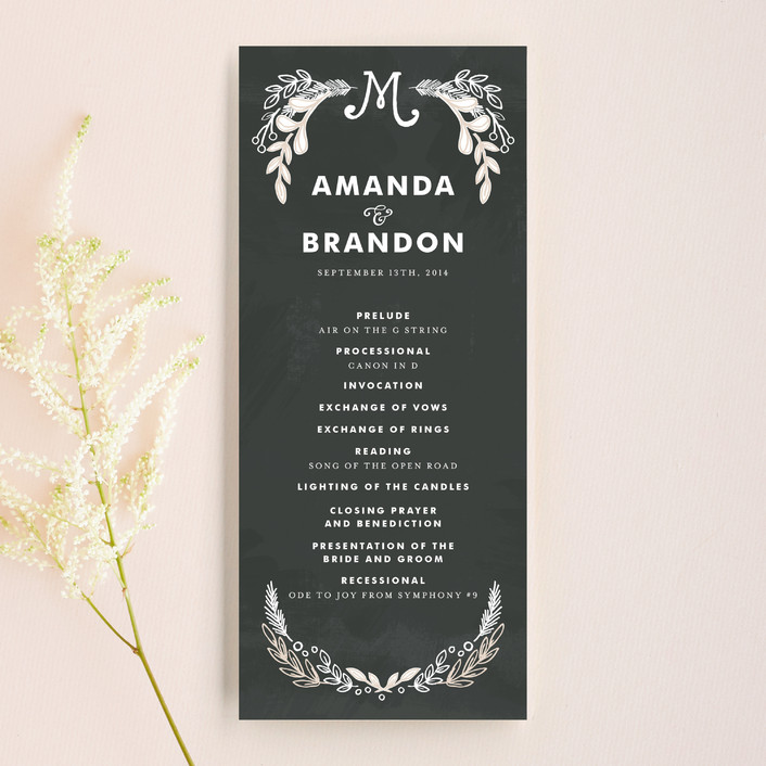 """Chalkboard"" - Hand Drawn, Rustic Unique Wedding Programs in Charcoal by Alethea and Ruth."