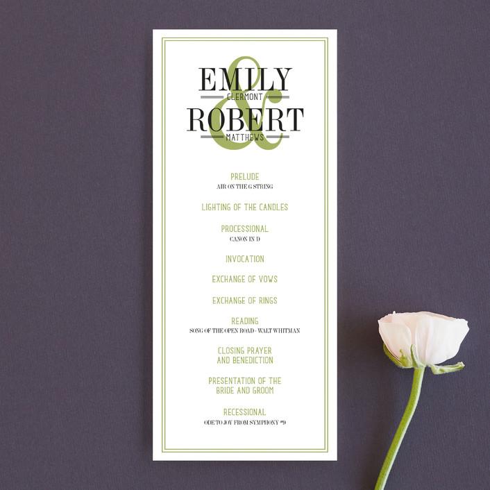 """Wed in Type"" - Modern Unique Wedding Programs in Moss by Ariel Rutland."