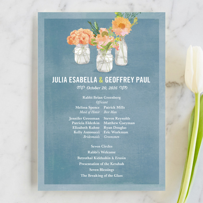 """""""Bouquet D'Amour"""" - Floral & Botanical, Rustic Unique Wedding Programs in Pacific Jade by Beth Ann."""