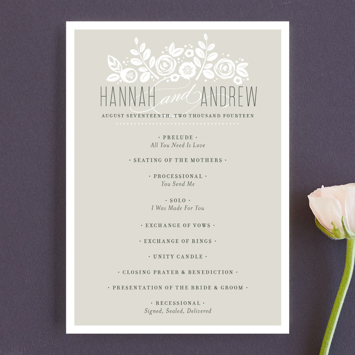 """White Shadows"" - Formal, Floral & Botanical Unique Wedding Programs in Champagne by Jessica Williams."