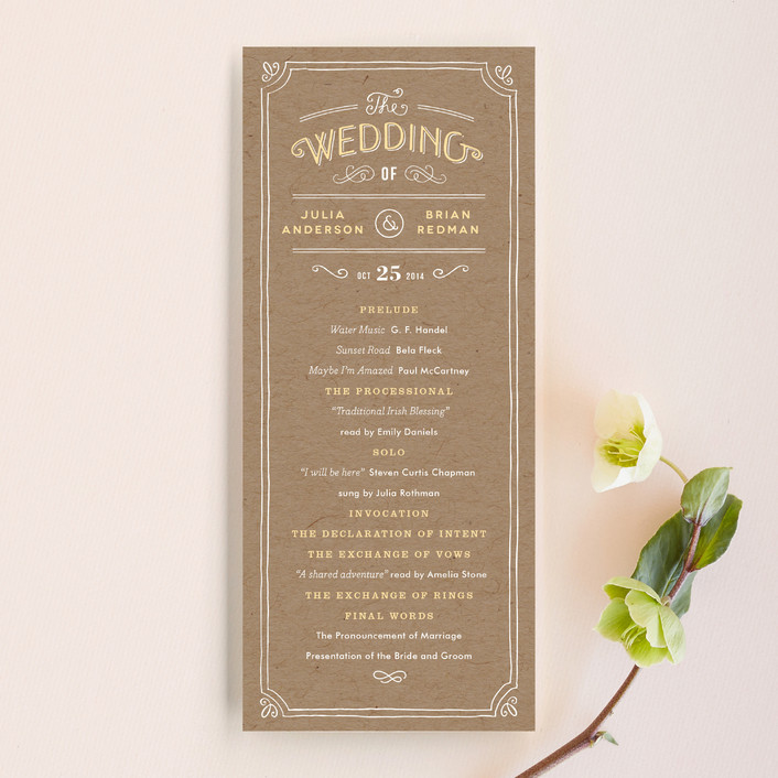 """Hand Delivered"" - Vintage, Hand Drawn Unique Wedding Programs in Kraft by Jennifer Wick."