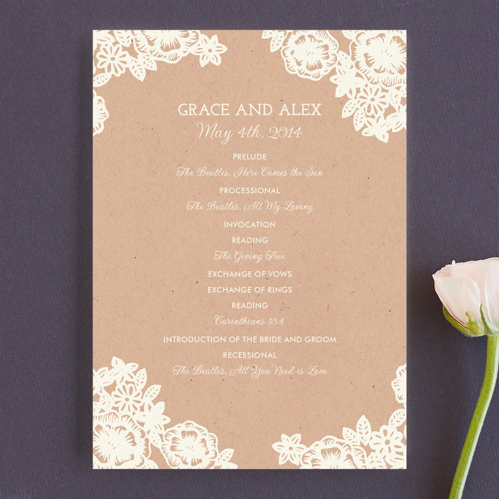 """""""Lace and Kraft"""" - Formal, Classical Wedding Programs in Kraft by Katharine Watson."""