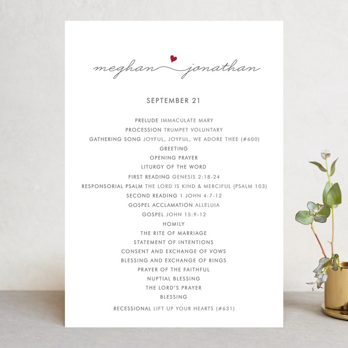 """Love Connection"" - Modern Wedding Programs in Red Hot by Kim Dietrich Elam."