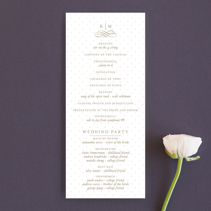 """A Glamorous Affair"" - Formal, Classical Wedding Programs in Gold by Kristen Smith."