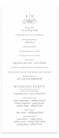 This is a portrait classical, elegant, formal, monogrammed, preppy, white, grey Wedding Programs by Kristen Smith called A Glamorous Affair with Standard printing on Signature in Classic Flat Card format. Share the details of your wedding ceremony with a beautiful ...