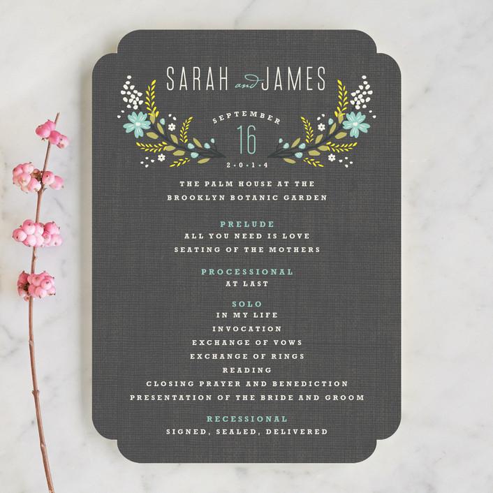 """Botanical Blooms"" - Floral & Botanical, Rustic Unique Wedding Programs in Mint by Kristie Kern."