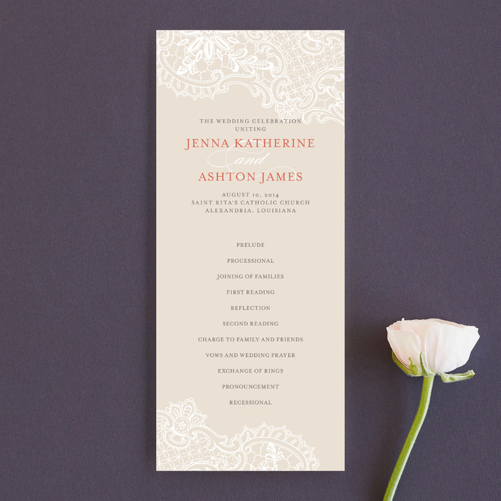 """White Lace"" - Vintage, Elegant Unique Wedding Programs in Coral Rose by Lauren Chism."