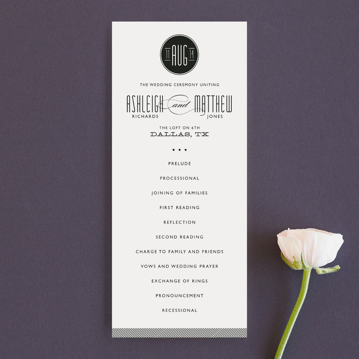 """Twine"" - Modern Unique Wedding Programs in Black by Lauren Chism."