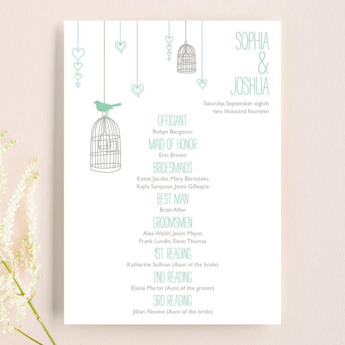 """Love Let Loose"" - Rustic Unique Wedding Programs in Seaglass by Paisley Tree Press."