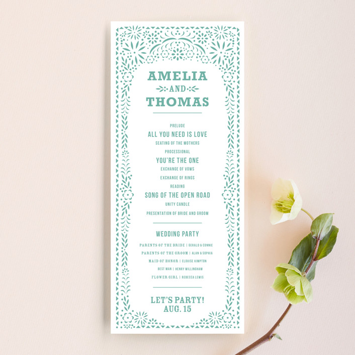 """Fiesta Folk Art"" - Wedding Programs in Lagoon by root beer float."