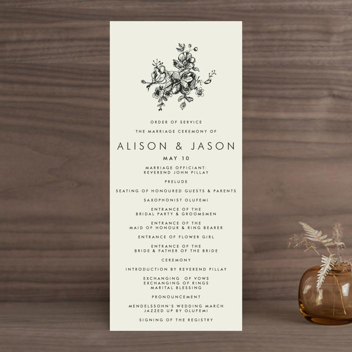 """Elegance Illustrated"" - Wedding Programs in Beige by Phrosne Ras."