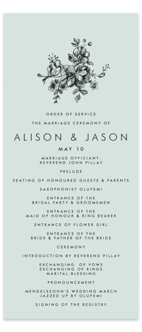 This is a landscape, portrait classical, floral, formal, hand drawn, blue, black Wedding Programs by Phrosne Ras called Elegance Illustrated with Standard printing on Signature in Classic Flat Card format. Share the details of your wedding ceremony with a beautiful ...
