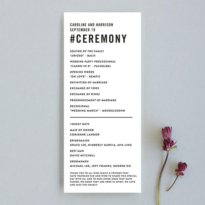 """""""Open Bar"""" - Unique Wedding Programs in Tuxedo by Jennifer Lew."""