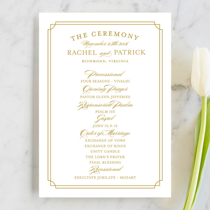 """Luxe Border"" - Formal, Classical Wedding Programs in Gold by Sarah Brown."
