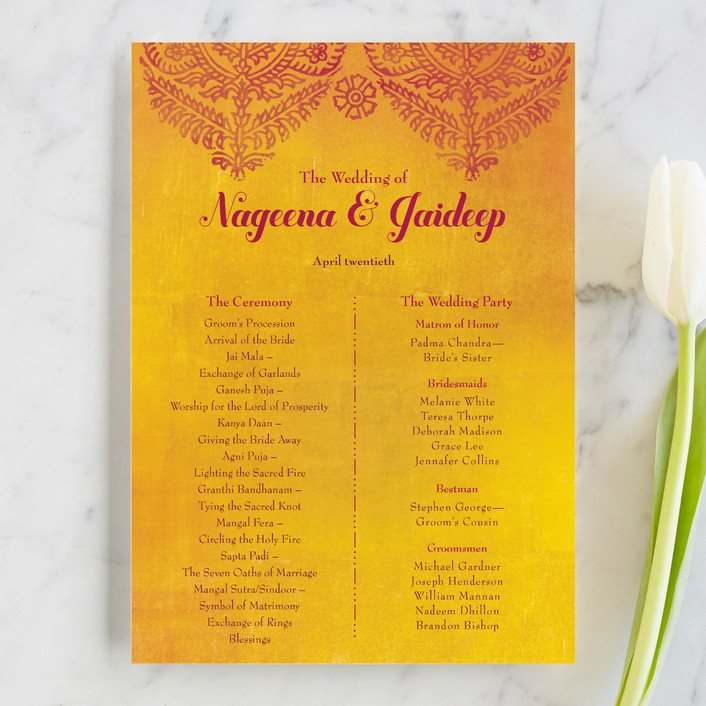 """Anand Karaj"" - Floral & Botanical Unique Wedding Programs in Coral by Ann Gardner."