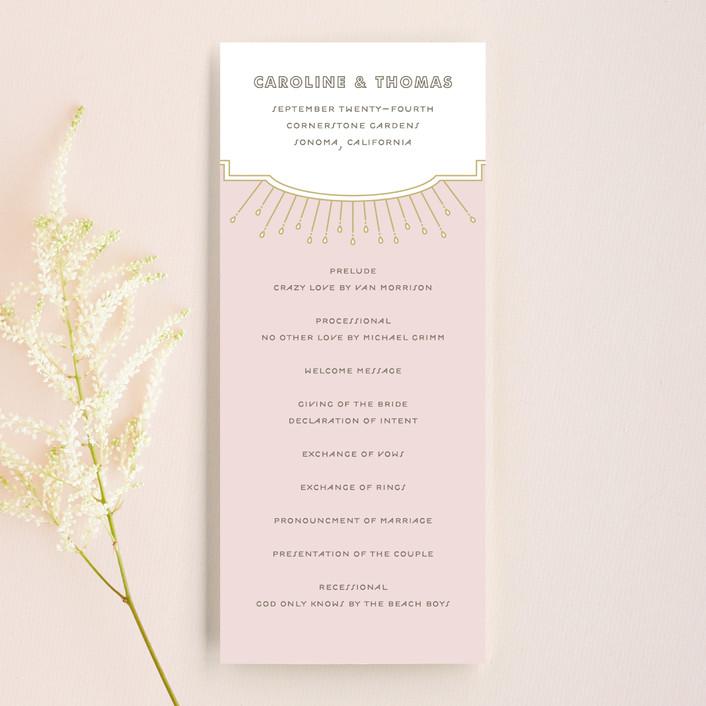 """Modern Deco"" - Vintage Unique Wedding Programs in Blush by Bourne Paper Co.."